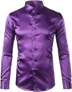 ee8763fb15 Camicia in Raso di Seta Oro Uomo Chemise Homme Moda Uomo Slim Fit Manica  Lunga in