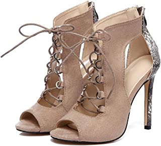 Suede Leather Stitching High Heel Sandals, Fish Mouth Straps Female Shoes, Summer Cutout Open-toe Stiletto Sandals