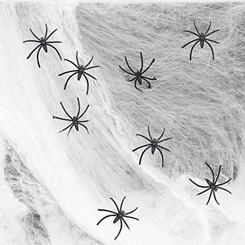 com-four® 4X Telarañas de Halloween con 2 arañas (8 arañas en Total), Tela de araña para Decoraciones de Halloween o Carnaval - Tela araña (04 Piezas - Red con 8 arañas)