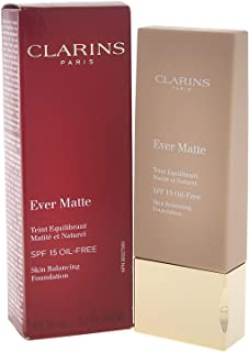 Clarins Ever Matte Skin Balancing Oil Free Foundation SPF 15, No. 107 Beige, 1.1 Ounce