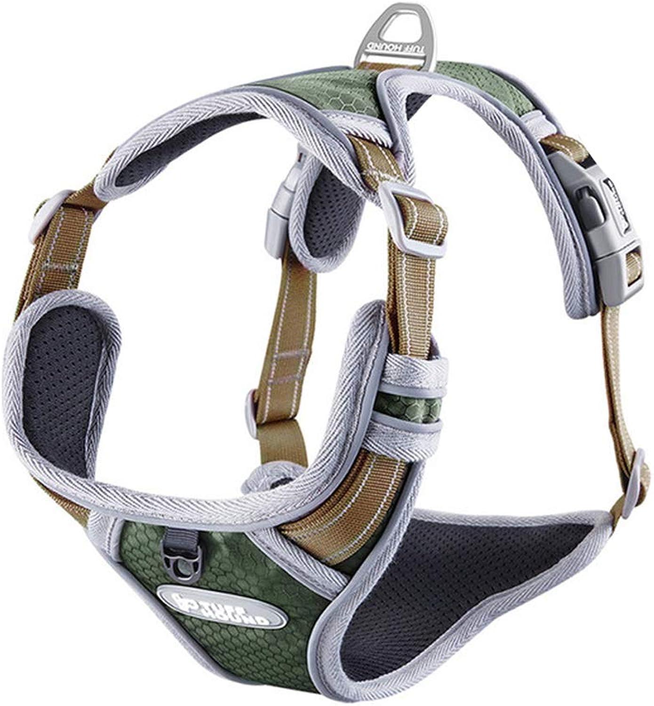 No Pull Dog Harness 3M Reflective Nylon Lightweight Pet Padded Vest,Brown,M