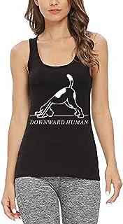 Funny Gym Tops for Women Downward Human Funny Saying Dog Animal Graphic Racerback Fitness Gym Sleeveless Shirts