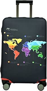 Spandex Luggage Cover for Travel- HoJax Suitcase Protective Bag Cover for samsonite Delsey Fit 19-21 Inch Luggage (Map, Small)