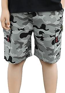 iiniim Kids Boys Camouflage Print Cargo Shorts Camo Elastic Waistband Dungarees Cargo Pants Summer Outdoor Casual Shorts