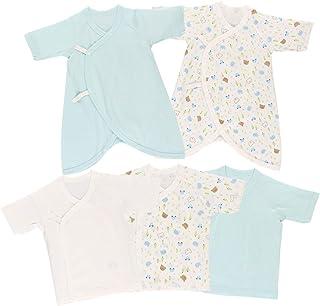 西松屋 5枚組フライス新生児肌着5点セット【新生児50-60cm】 ブルー