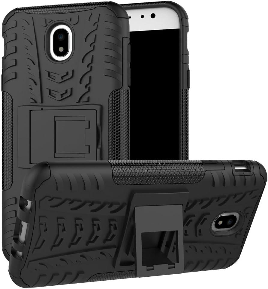 MAMA MOUTH Galaxy J7 2017 / J730 Funda, Heavy Duty Silicona híbrida con Soporte Cáscara de Cubierta Protectora de Doble Capa Funda Caso para Samsung Galaxy J7 2017 / J730 Smartphonene,Negro
