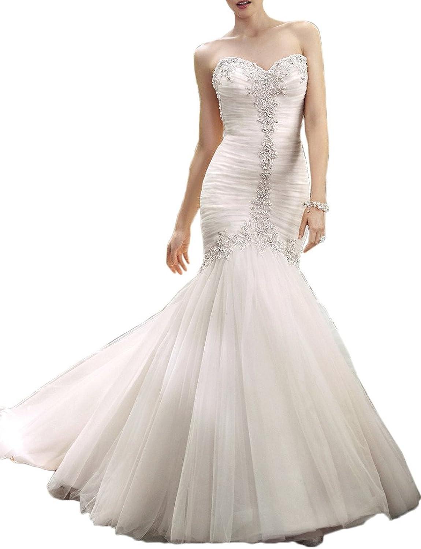 Avril Dress Beading Sweetheart Mermaid Ruffle Wedding Gown Chapel Train Satin