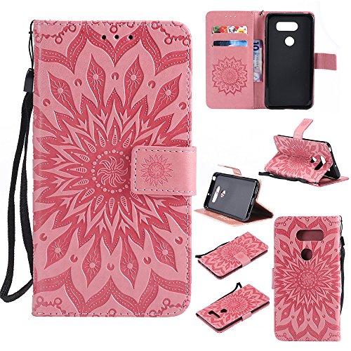 Capa de celular GLORYSHOP para LG V30, [alça de pulso] Capa protetora flip carteira de couro PU girassol com compartimentos para cartão e suporte para LG V30/LG V30 Plus, rosa