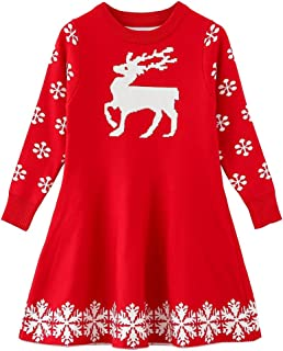 Little Girls Christmas Dress Reindeer Snowflake Xmas Gifts Winter Knit Sweater Dresses