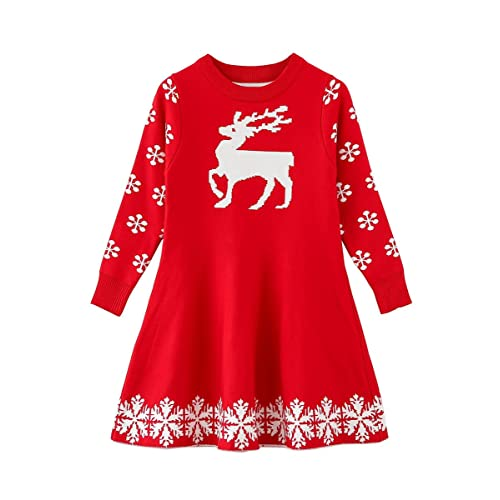 0a9244acb4bb SMILING PINKER Little Girls Christmas Dress Reindeer Snowflake Xmas Gifts  Winter Knit Sweater Dresses