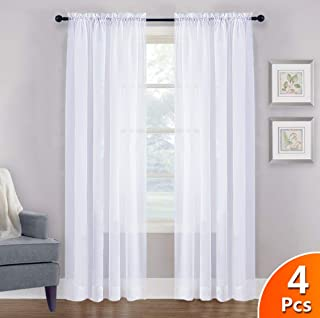 NICETOWN 4 Panels Sheer Curtains 95 - Plain Tulle Voile Panel Window Drapes/Draperies Set for Hall (4 Pieces, W60 x L95, White)