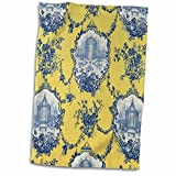 3D Rose Garden French Yellow and Blue. Popular Toile Print Hand Towel, 15' x 22'