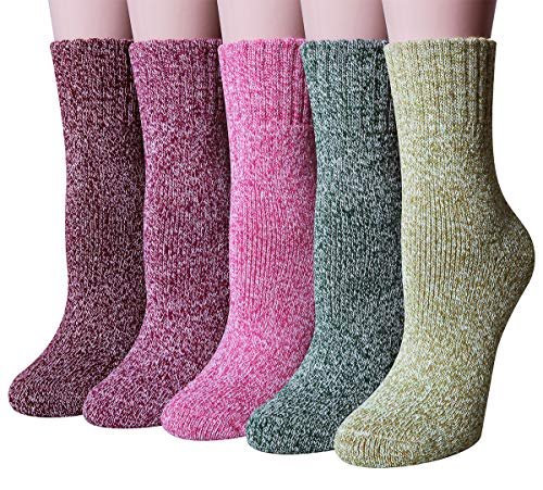 Chalier 5 Paar Damen Winter Wollesocken, Super Weiche Dicke Warme Socken für Business & Freizeit- Einheitsgröße, Farbe: Mix3