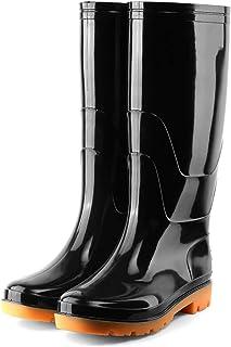 SFGSA Bottes de pluie pour homme en PVC imperméable, durable, bottes de chasse souples et résistantes à l'usure, sans velo...