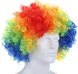 MAYCREATE® Curly Afro Wigs Multi-color Party Clown Funky Disco for Men Women Fancy Dress