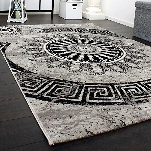 Paco Home Tapis Classique à Motifs Ornements Circulaires Chiné Moucheté Gris Noir, Dimension:160x230 cm