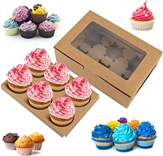 15PCS Cupcake Boxes with 6Holders,Kraft Transparent White Marble Cupcake Boxes with Window,Food Grade Cupcake Carrier for ...
