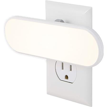 GE 12498 Barra LED brillante de enchufar, luz nocturna, con sensor de luz, encendido/apagado automático, ideal para recámara, baño, pasillo, escaleras, cocina, despensa, clóset y lavandería, hasta 100 lúmenes, color blanco