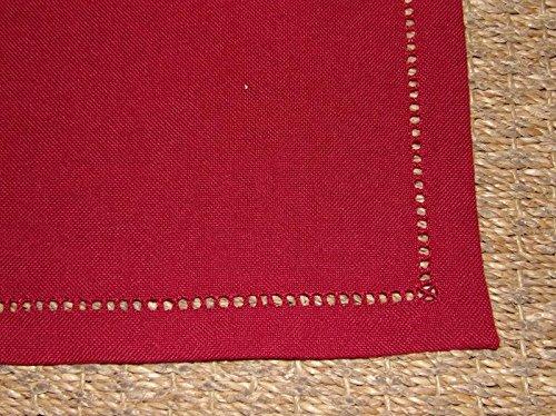 Boite-a-cadeaux - Lot De 6 Serviettes Infroissables Rouge Uni Bord Ajouré 40X40Cm Simla