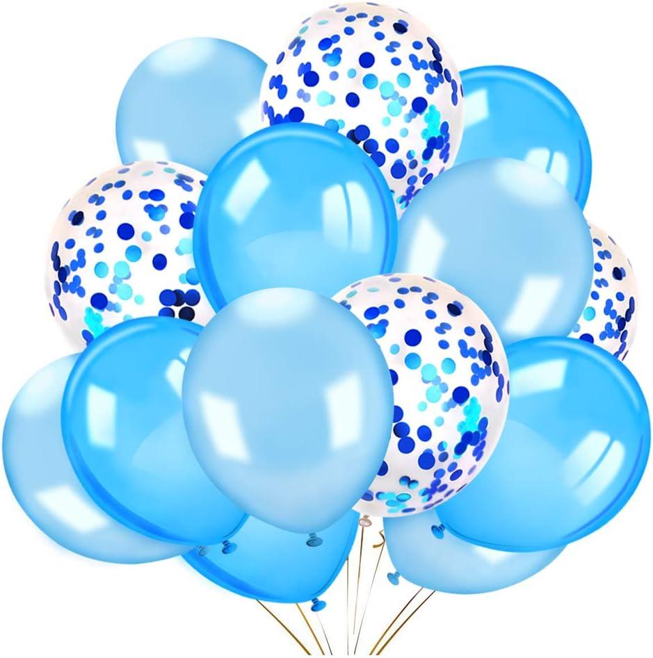 Konsait 60 Pieces 12 Inches Confetti Balloons White  Blue Latex