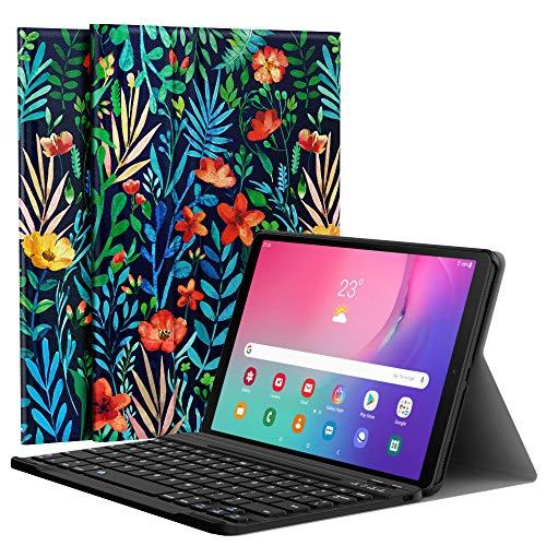 MoKo Custodia Compatible con Samsung Galaxy Tab A 10.1 2019, Tablet Tastiera Wireless, Layout Inglese con Batteria Ricaricabile Porta USB, per Galaxy Tab A 10.1' SM-T510/T515 - Notte nella Giungla