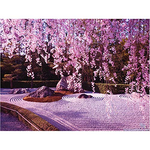 niumanery Cherry Blossoms 5D Round Shaped Diamond Painting Embroidery Needlework Rhinestone Crystal Cross Craft Stitch Kit