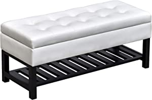 """HOMCOM 44"""" Tufted Faux Leather Ottoman Storage Bench with Shoe Rack - White"""