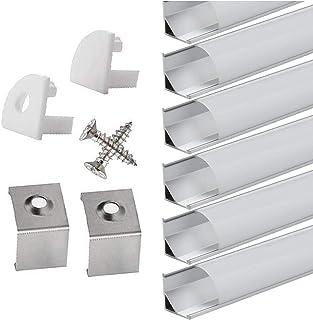 StarlandLed Perfil de Aluminio, 6x100cm Perfil de Aluminio LED para Luces de Tira del LED con Cubierta Blanca Lechosa, Los Casquillos de Extremo y los Clips de Montaje del Metal-Plata …