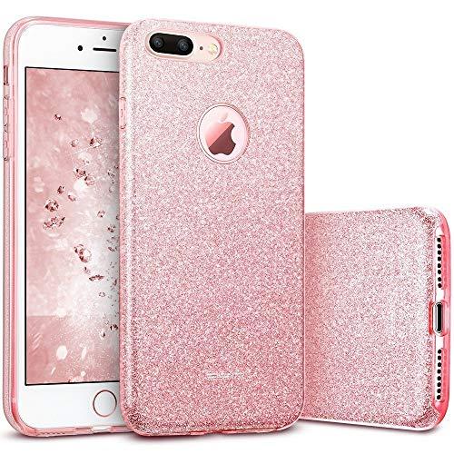 ESR Funda para iPhone 7 Plus con Purpurina Brillante de Tres Capas TPU + Policarbonato- Oro Rosa
