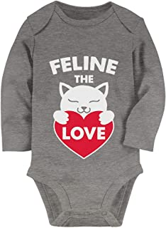 Tstars Gifts for Cat Lovers - Feline The Love Valentines Day Baby Long Sleeve Bodysuit