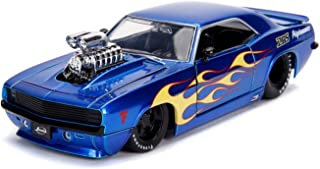 Jada 1969 Chevrolet Camaro with Blower Candy Blue and Yellow Flames Bigtime Muscle Series 1/24 Diecast Model Car 30708