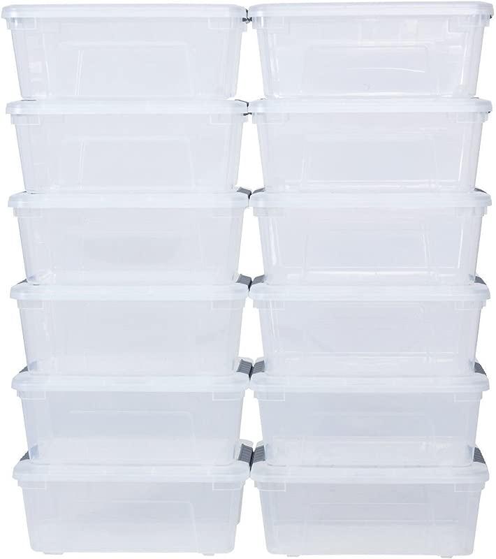 12 Pack 144Quart 156Liter Latch Stack Storage Box Tubs Bins Latches Organizer Allblessings