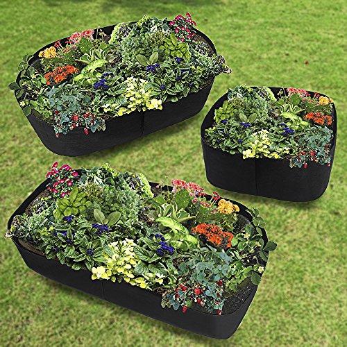 Sacs surélevés de jardin, lit surélevé en tissu, récipient de plantation rectangulaire en feutre respirant, sac de culture pour plantes, fleurs, légumes 40,6 cm de haut 60 x 60 cm Noir