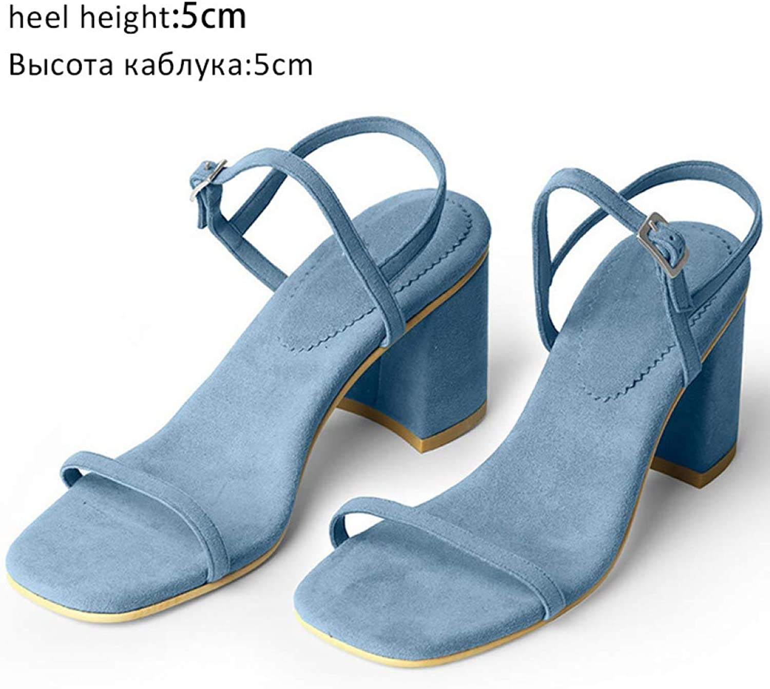 T-JULY Women's Sandal Open Toe Buckle Strap Thick Heel Summer High Heels Ankle Strap Party Beach shoes