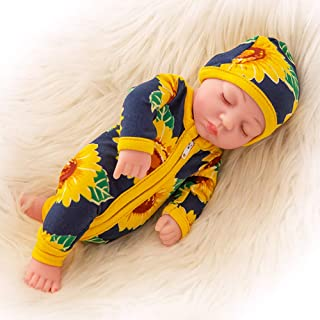 Ecore Fun 10 Inch Newborn Reborn Baby Doll and Clothes Set Washable Realistic Silicone Baby Dolls with Cute Sunflower Jumpsuit Clothes-Best Gift for Kids Girls
