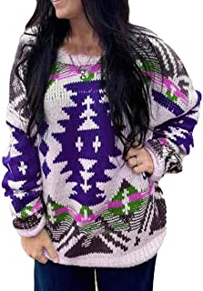 Womens Long Sleeve Crew Neck Color Block Pattern Knit Pullover Sweater