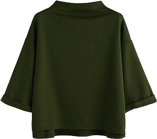 Women's Colorblock Summer Short Sleeve Casual Loose T-Shirt Crop Top