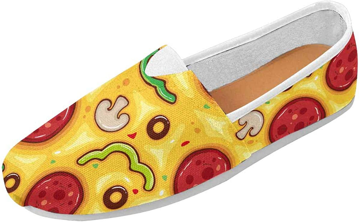 InterestPrint Pattern with Pizza Womens Comfortable Casual Slip On Loafers