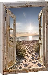 Wand-Bild Kunstdruck aus Hart-Glas Hochformat 60x120 Weg zum Strand
