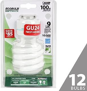 Feit BPESL23TM/GU24 100W Equivalent CFL Twist GU24 Base Bulb (Pack of 12), Soft White