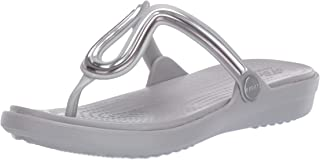 Crocs Women's Sanrah Metalblock Flat Flip W Open Toe Sandals, Silver (Multi Metal/Silver 98q), 4 UK