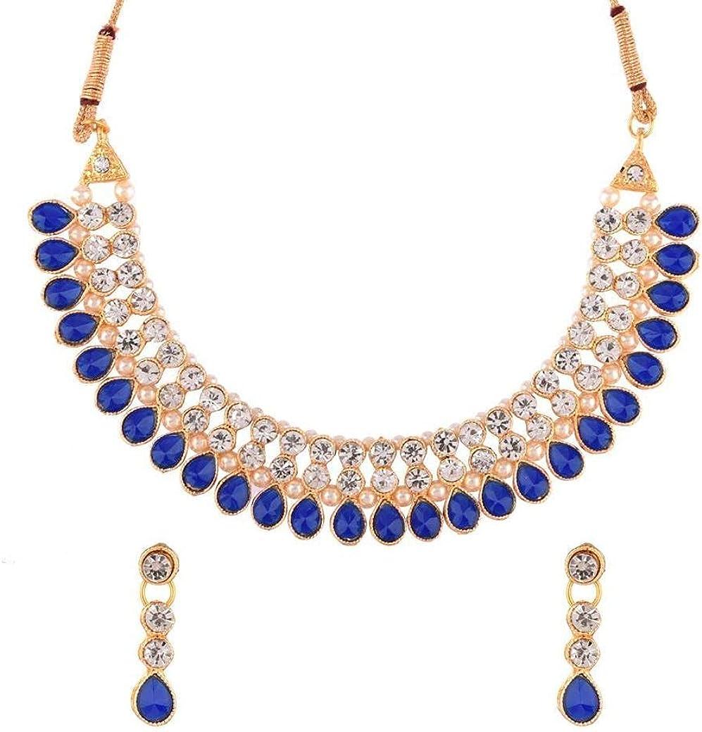 Efulgenz Indian Jewelry Cubic Zirconia CZ Crystal Choker Necklace Drop Earrings Set for Women Girls