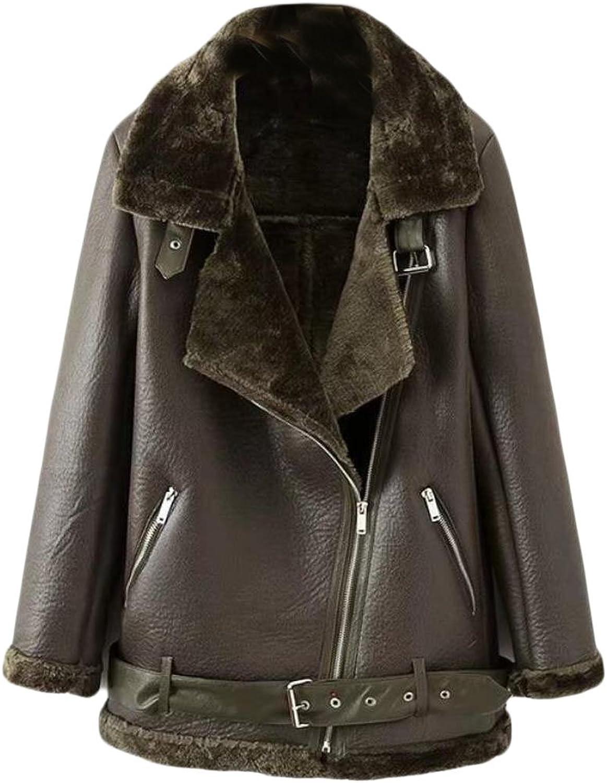 GAGA Women's Winter Warm Faux Suede Fleece Jacket Coat Short Outwear With Belat
