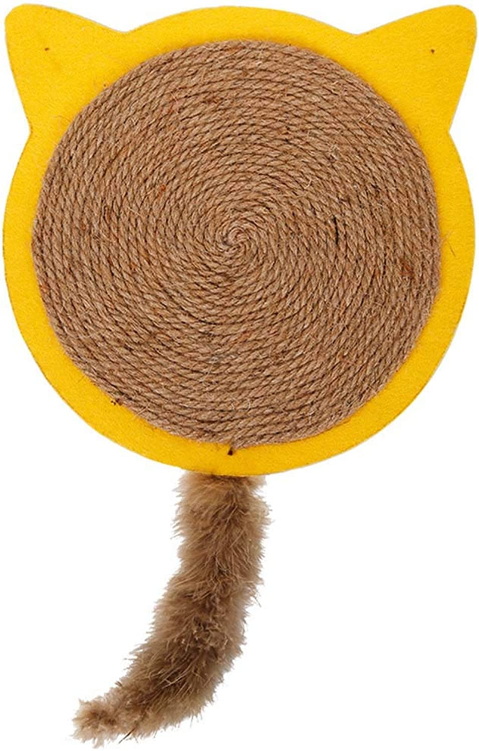 Cat Scratch Board Kitty Scrathing Mat Natural Sisal Elk Antler Cat Tail Toys Grinding Claw Carpet Pet Supplies Training Scratch Resistant,Yellow