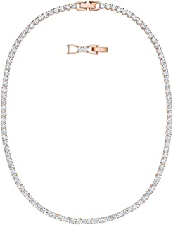 SWAROVSKI Crystal Authentic Tennis Deluxe All-Around Necklace, White, Rose Gold Plated - Trendy and Stone Studded Fancy De...