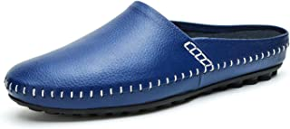 YiCeirnier Men's Slippers House/Office Slip On Sandals Leather Casual Loafers Backless Blue Size: 8.5 US