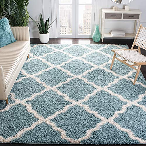 SAFAVIEH Dallas Shag Collection SGD257C Trellis Non-Shedding Living Room Bedroom Dining Room Entryway Plush 1.5-inch Thick Area Rug, 8' x 10', Seafoam / Ivory