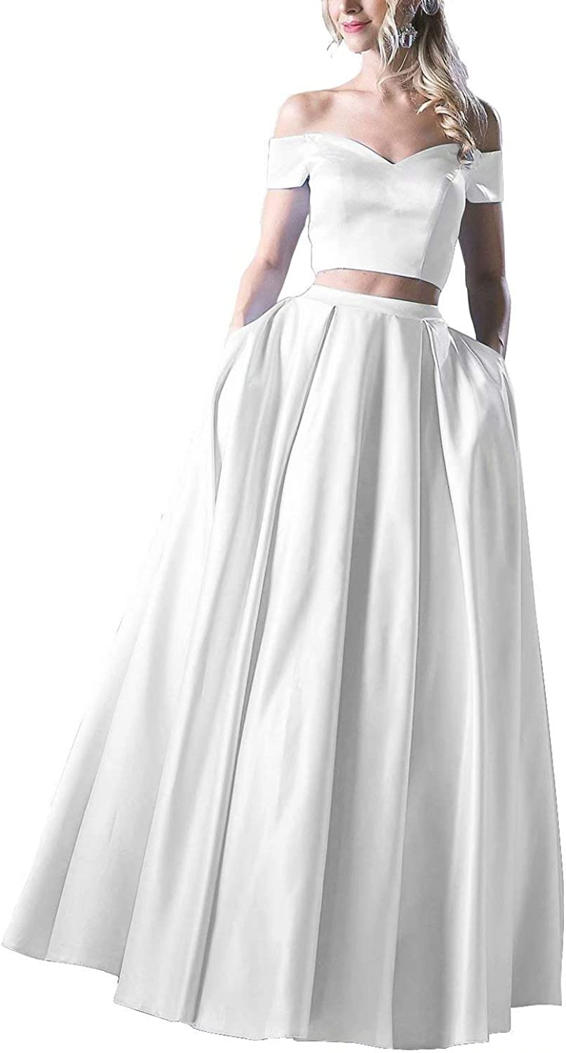 Chady Women's Genuine Free Shipping Two Piece Prom Dresses Off Translated The Satin Long Shoulder