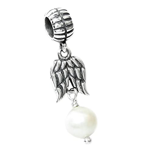 50f8b25c4 Queenberry Sterling Silver Guardian Wing Freshwater Cultured Pearl European Dangle  Bead Charm (4.5-5mm