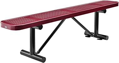 "Global Industrial 72"" Perforated Metal Outdoor Flat Bench, Red"